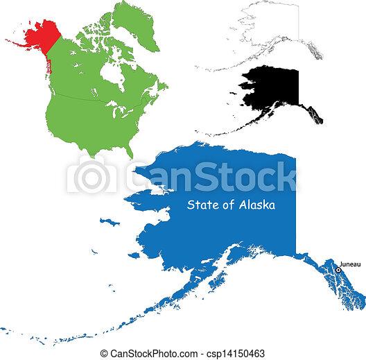 Clip Art Vector Of Alaska Map  State Of Alaska USA
