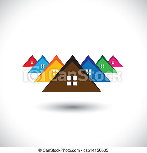 House(home), residential locality of a town or city- vector graphic. The illustration is also a icon for buying & selling residential property, office, etc - csp14150605