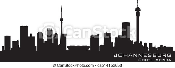 Johannesburg South Africa skyline Detailed vector silhouette - csp14152658