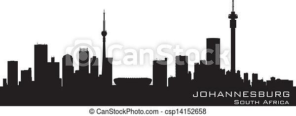 Johannesburg South Africa skyline Detailed vector silhouette - csp14152658