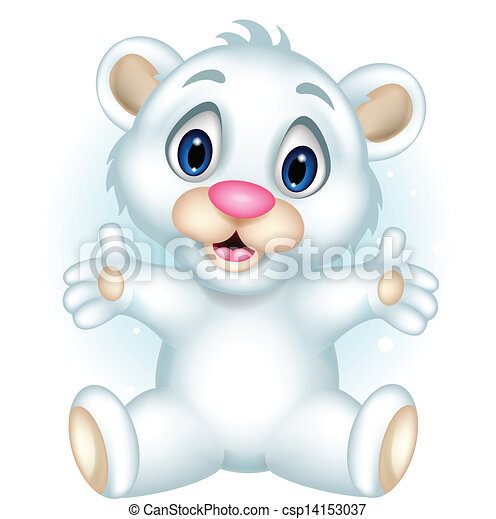Vector - cute baby polar bear posing - stock illustration, royalty