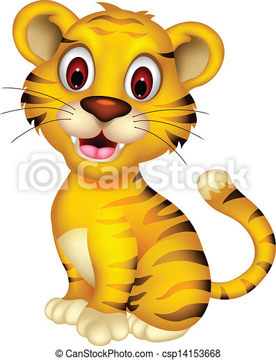 Clip Art Vector of cute baby tiger posing - vector illustration of ...