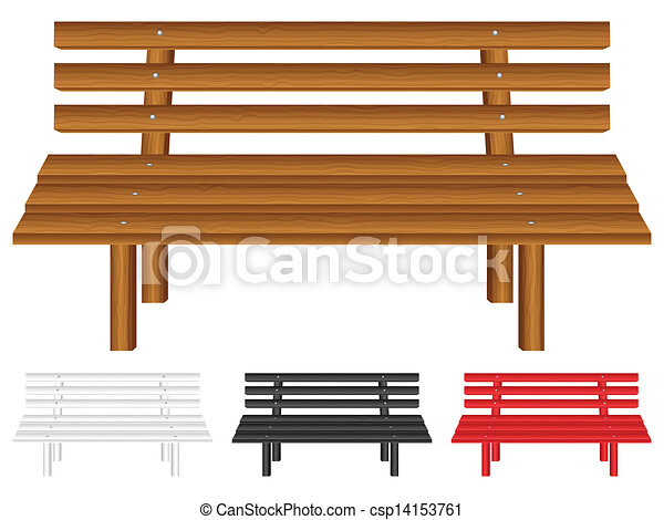 Clip Art Vector of wooden bench - Wooden bench set on white background ...