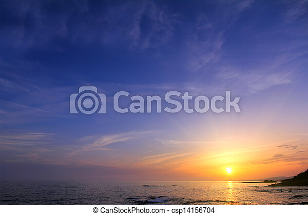 beautiful sunset over sea - csp14156704