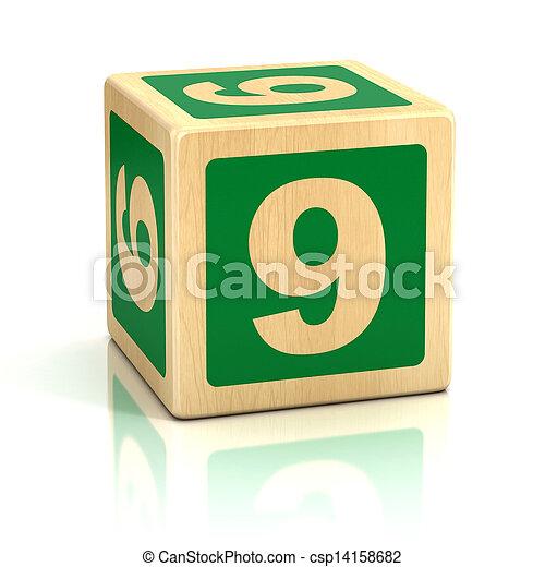 Pictures of number nine 9 wooden blocks font - nine, wooden, 9, block ...
