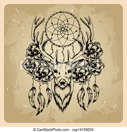Drawings Of Deer With Flowers And Dream Catcher Csp14159234 Search Clipart Illustration And