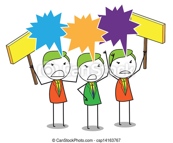 Clip Art Vector of protest group csp14163767 - Search Clipart ...
