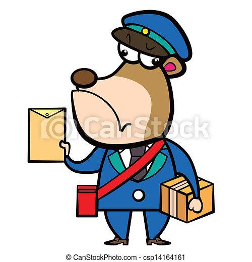 Clip art vecteur de lettre dessin anim facteur ours paquet dessin anim csp14164161 - Facteur dessin ...