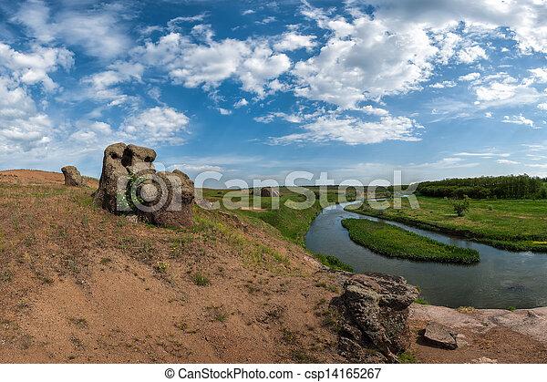 Stock beeld van rivier hout heuvel steen zomer landscape rivier csp14165267 zoek - Zomer keuken steen ...