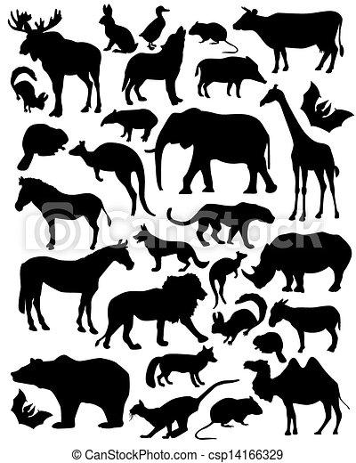 silhouette mammals - csp14166329