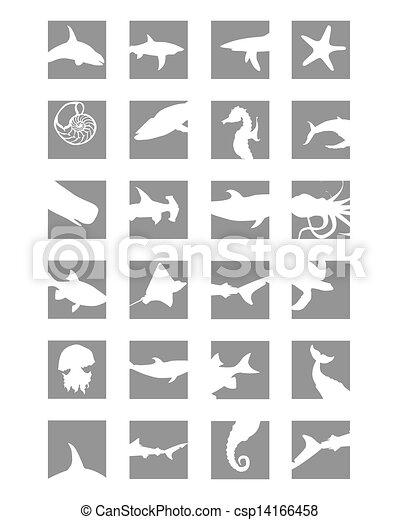marine mammals icons - csp14166458