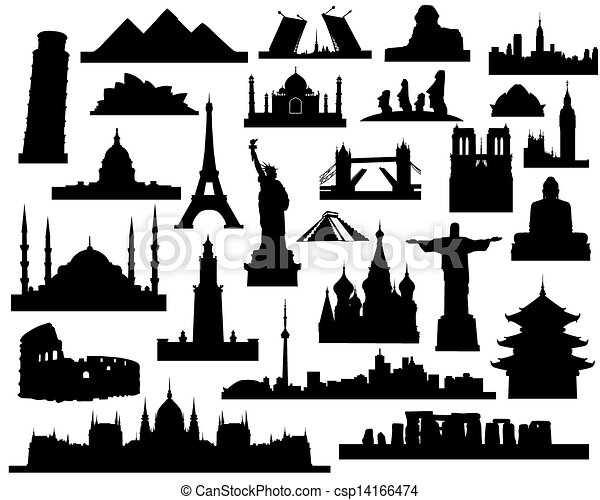 Vectors Illustration of sights of the world - vector silhouettes ...