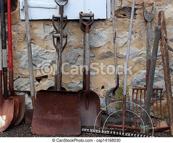 Stock Photos of Old rusty garden tools against shed - Old,rusty gardening... csp14168030 ...