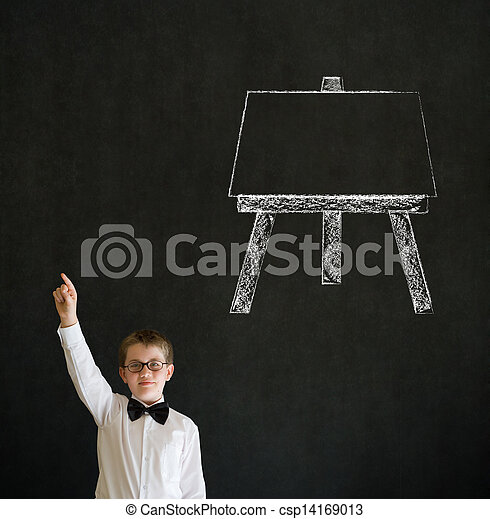 Hand up answer boy business man with learn art chalk easel