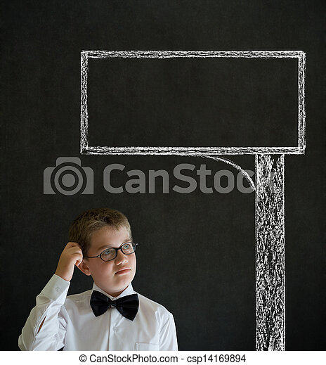 Scratching head thinking boy business man with chalk road advertising sign