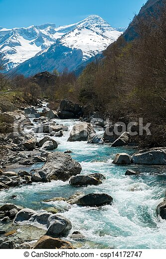 Fast river in mountain forest - csp14172747
