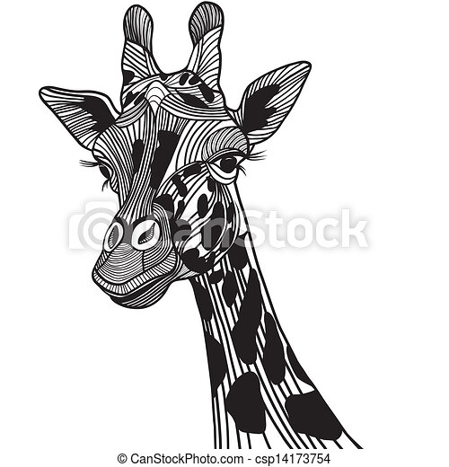 Giraffe head vector animal illustration for t-shirt. Sketch tattoo design. - csp14173754