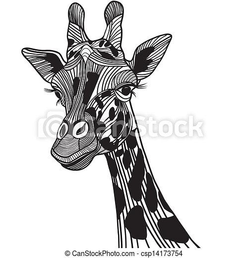 Giraffe head vector animal illustration for t-shirt. Sketch tattoo design. - csp14173754