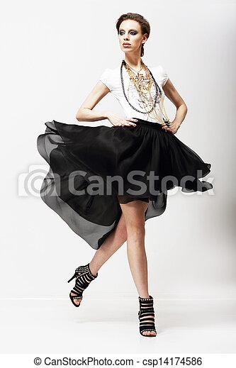Vestido, Oscilación, movimiento, lujoso,  supermodel, Moda, vitalidad, Ondear - csp14174586