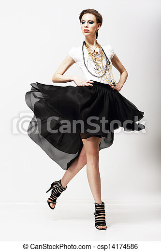dress., 動擺, motion., 豪華, supermodel, 時裝, vitality., 顫動 - csp14174586