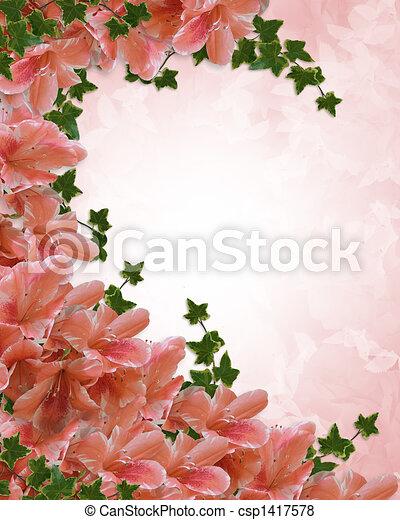 Stock Illustration Of Azaleas Floral Invitation Borde