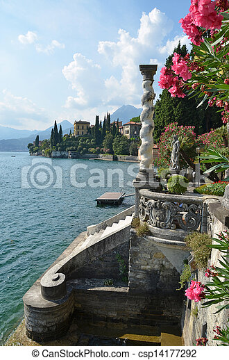 View to the lake Como from villa Monastero. Italy - csp14177292