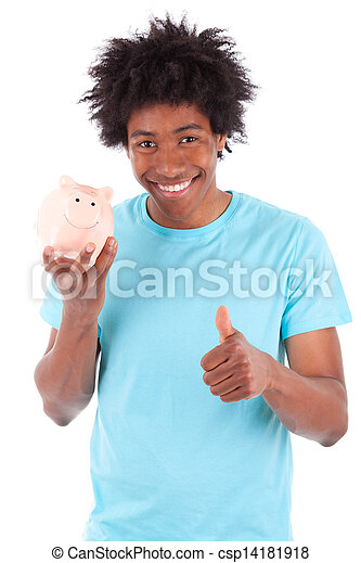 Young black teenage men holding a piggy bank and making thumbs up , isolated on white background - African people - csp14181918