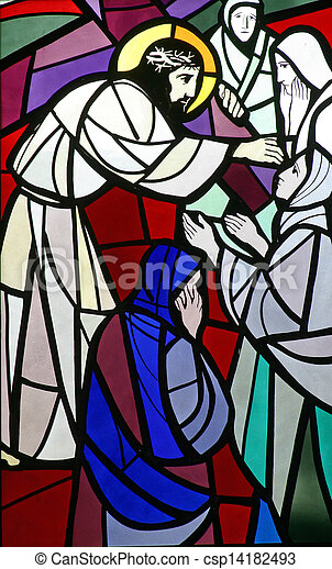 Stock Photographs of 8th Stations of the Cross, Jesus meets the ...