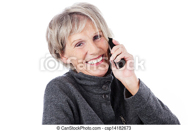 Smiling elderly woman on the telephone - csp14182673