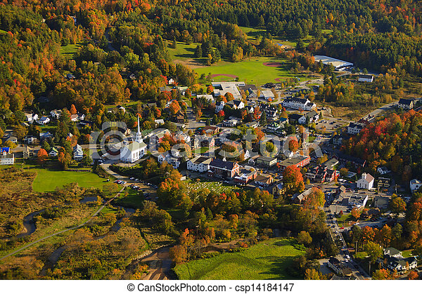 Aerial view of rural Vermont town. - csp14184147