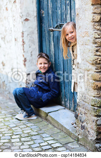 Kids outdoors in city - csp14184834