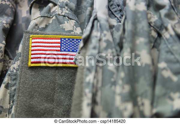 U.S. flag patch on the army uniform - csp14185420