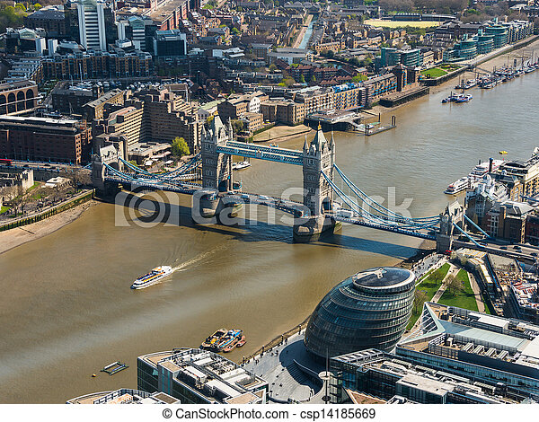 Tower Bridge and London City Hall aerial view - csp14185669