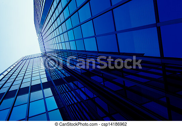 exterior of glass residential building. Modern glass silhouettes of skyscrapers - csp14186962