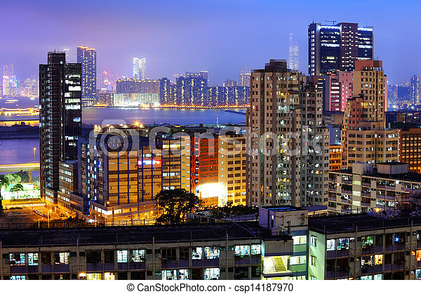 Residential building in Hong Kong  - csp14187970