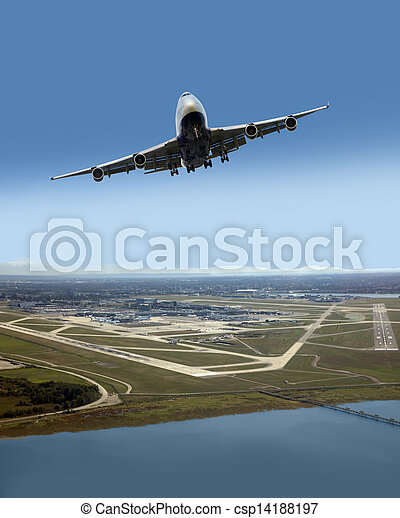 Airplane after taking off from Vancouver International Airport, Canada