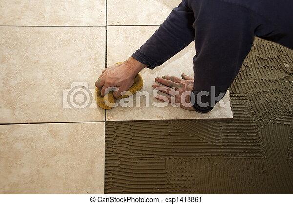 Installing Ceramic Tile - csp1418861