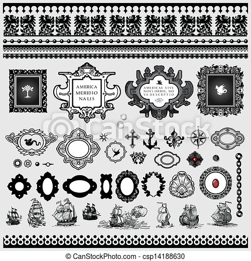 antique map elements collection - csp14188630