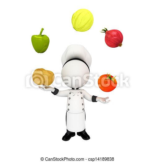 3d white people as chef with fruits - csp14189838
