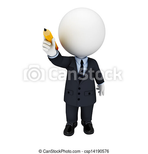3d white people as business man - csp14190576