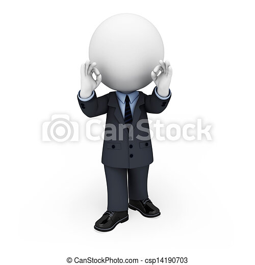 3d white people as business man - csp14190703