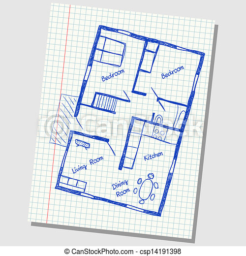 Vectors of Illustration of floor plan doodle on school squared paper ...