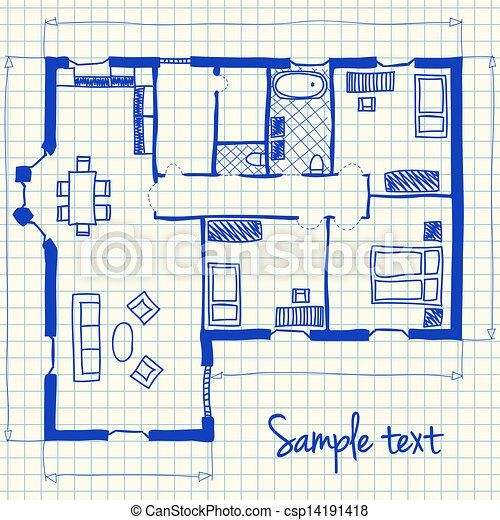 Brilliant Floor Plan Furniture Vector Illustration Of Doodle On School Squared Paper N To Design Inspiration