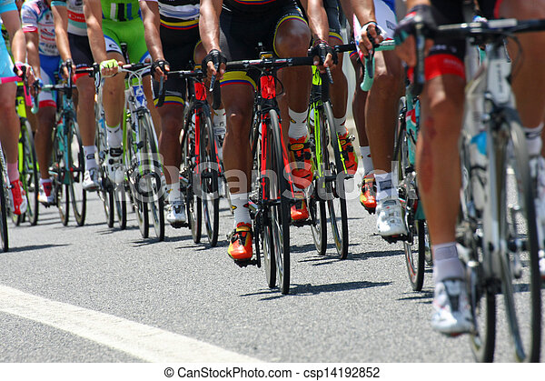 cyclists with sports during abbiglaimento during a challenging road bicycle race