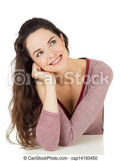 Beautiful woman looking at copy-space - csp14193450
