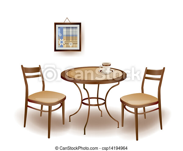 clip art vector of illustration of the round table and chairs