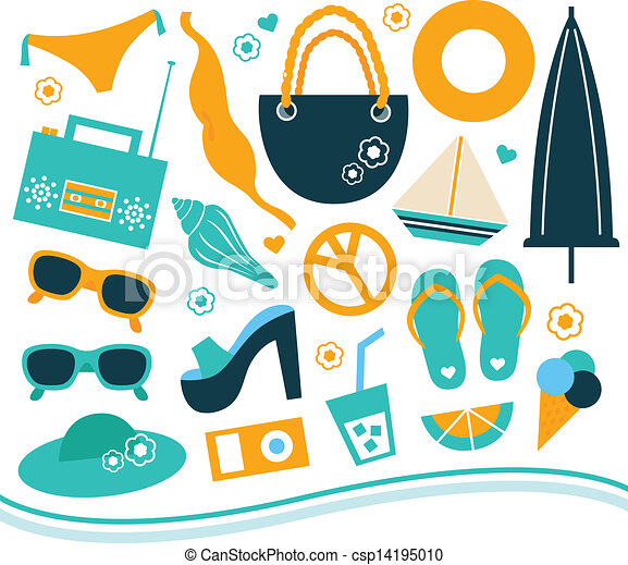 Summer design element set - orange and blue - csp14195010