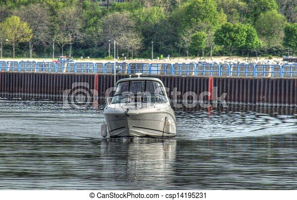 Fishing boat on Lake Michigan - csp14195231