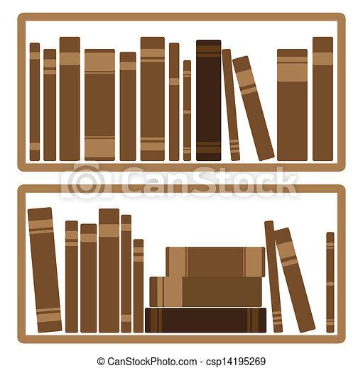 Clip Art Vector of Books On shelf - Vector Illustration Of Books ...