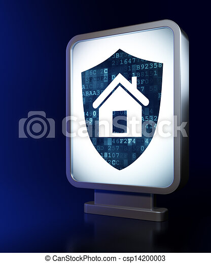 Security concept: Shield on billboard background - csp14200003